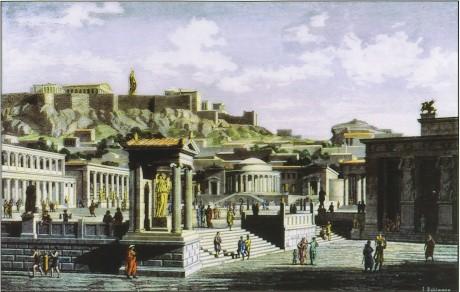 die Agora von Athen; Zeichnung ausd dem 19. Jahrhundert