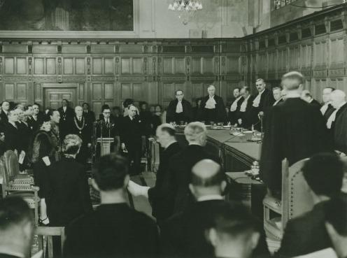 Eröffnungssitzung des Internationalen Gerichtshofs in Den Haag, 1949