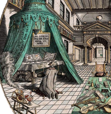 Alchemisten-Labor, von Heinrich Khunrath, 1595; Ausschnitt